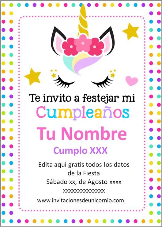 invitacion de unicornio Cumpleaños