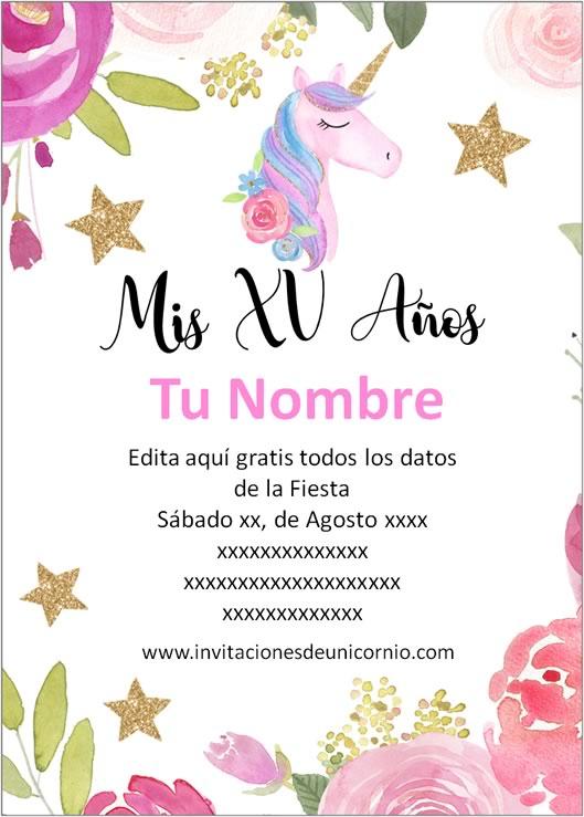 invitacion de unicornio xv años