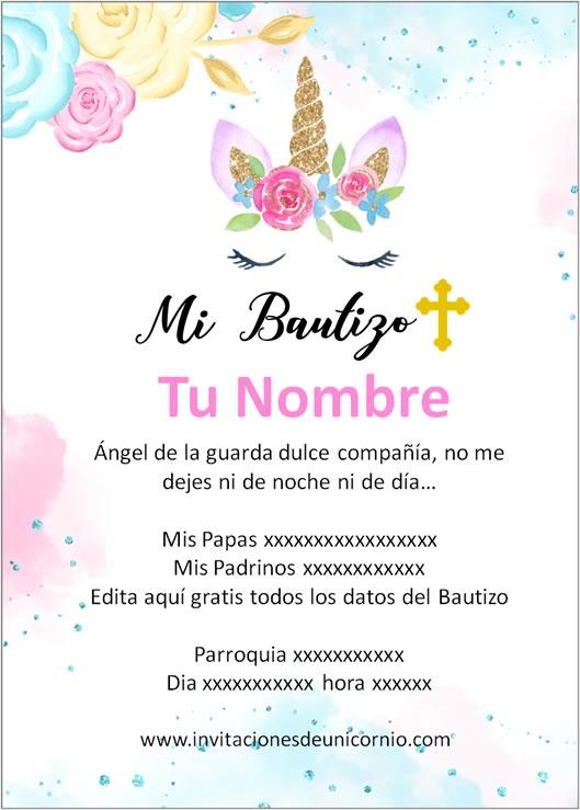 invitacion de unicornio bautizo