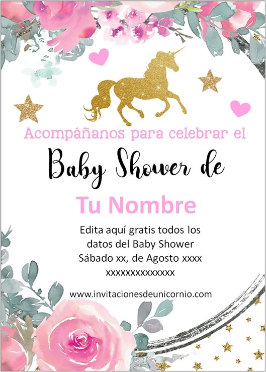 invitacion de unicornio baby shower