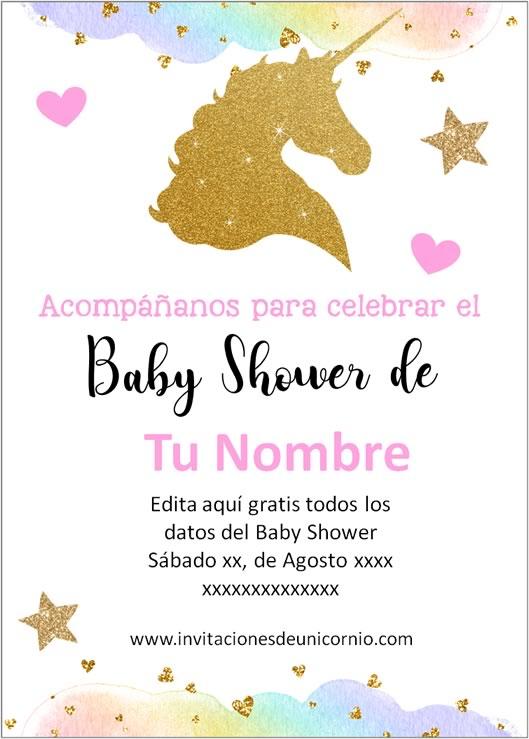 invitacion de unicornio baby shower